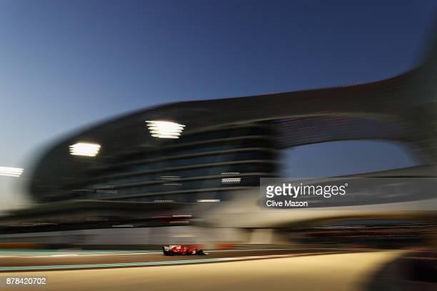 Kimi Raikkonen of Finland driving the Scuderia Ferrari SF70H on track during practice for the Abu Dhabi Formula One Grand Prix at Yas Marina Circuit...