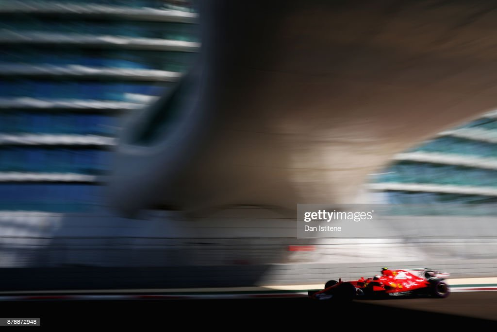 Kimi Raikkonen of Finland driving the (7) Scuderia Ferrari SF70H on track during final practice for the Abu Dhabi Formula One Grand Prix at Yas Marina Circuit on November 25, 2017 in Abu Dhabi, United Arab Emirates.