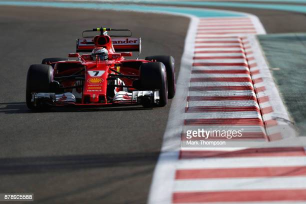 Kimi Raikkonen of Finland driving the Scuderia Ferrari SF70H on track during final practice for the Abu Dhabi Formula One Grand Prix at Yas Marina...
