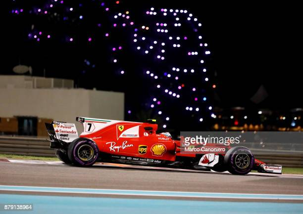 Kimi Raikkonen of Finland driving the Scuderia Ferrari SF70H on track during qualifying for the Abu Dhabi Formula One Grand Prix