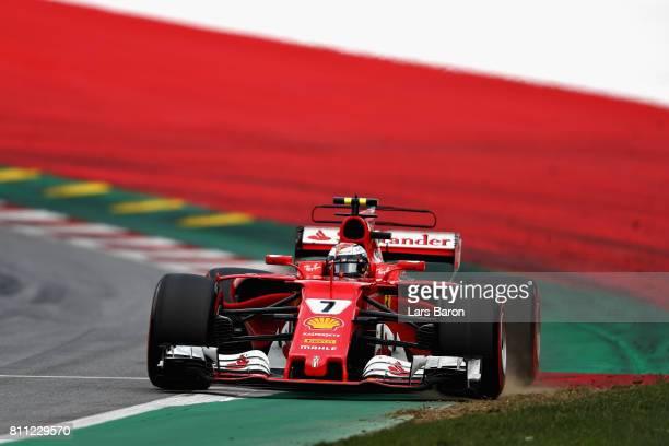 Kimi Raikkonen of Finland driving the Scuderia Ferrari SF70H runs wide during the Formula One Grand Prix of Austria at Red Bull Ring on July 9 2017...