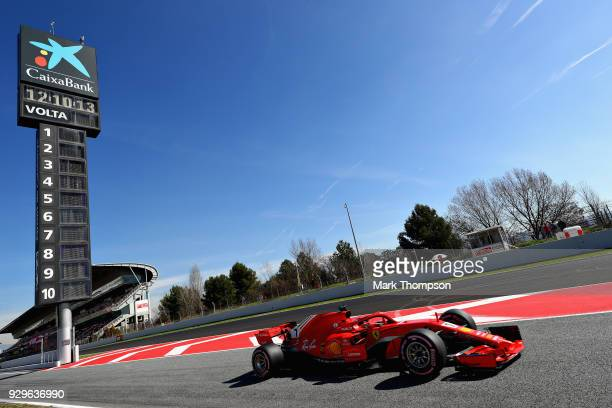 Kimi Raikkonen of Finland driving the Scuderia Ferrari SF71H leaves the pitlane during day four of F1 Winter Testing at Circuit de Catalunya on March...