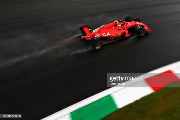 Kimi Raikkonen of Finland driving the Scuderia Ferrari SF71H on track during practice for the Formula One Grand Prix of Italy at Autodromo di Monza...