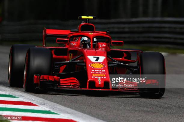Kimi Raikkonen of Finland driving the Scuderia Ferrari SF71H on track during qualifying for the Formula One Grand Prix of Italy at Autodromo di Monza...