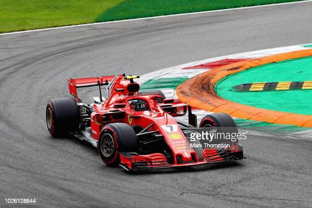 Kimi Raikkonen of Finland driving the Scuderia Ferrari SF71H on track during the Formula One Grand Prix of Italy at Autodromo di Monza on September 2...