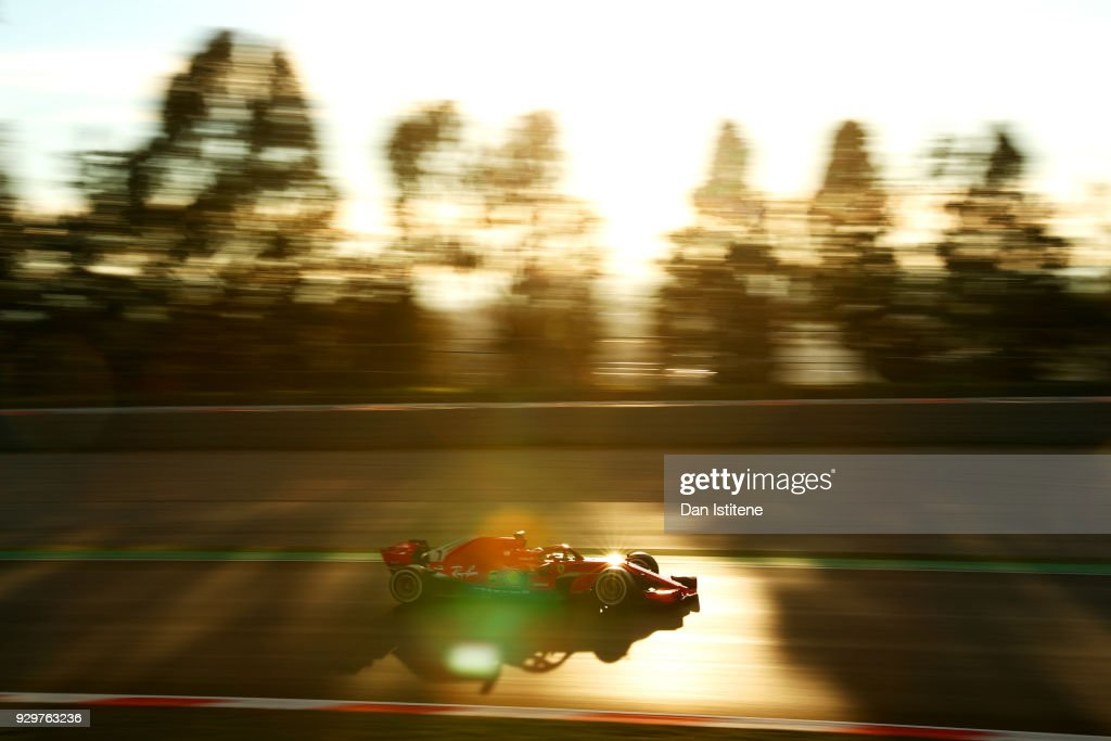 Kimi Raikkonen of Finland driving the (7) Scuderia Ferrari SF71H on track during day four of F1 Winter Testing at Circuit de Catalunya on March 9, 2018 in Montmelo, Spain.