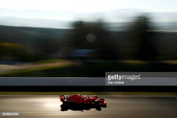 Kimi Raikkonen of Finland driving the Scuderia Ferrari SF71H on track during day four of F1 Winter Testing at Circuit de Catalunya on March 9 2018 in...