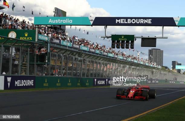 Kimi Raikkonen of Finland driving the Scuderia Ferrari SF71H on track during the Australian Formula One Grand Prix at Albert Park on March 25 2018 in...