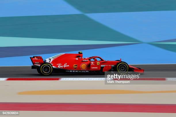 Kimi Raikkonen of Finland driving the Scuderia Ferrari SF71H on track during practice for the Bahrain Formula One Grand Prix at Bahrain International...