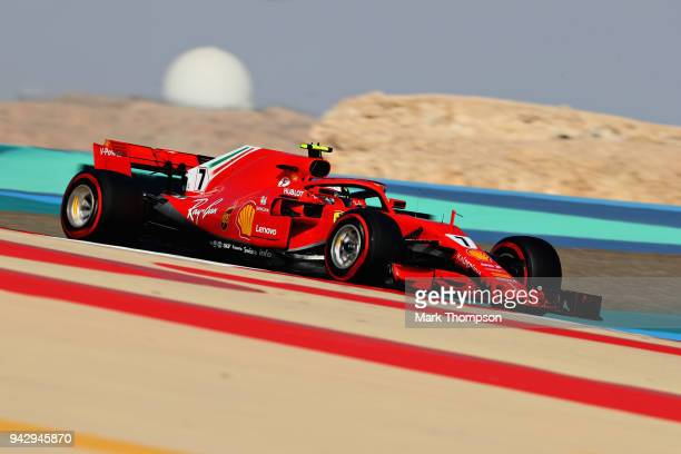 Kimi Raikkonen of Finland driving the Scuderia Ferrari SF71H on track during final practice for the Bahrain Formula One Grand Prix at Bahrain...