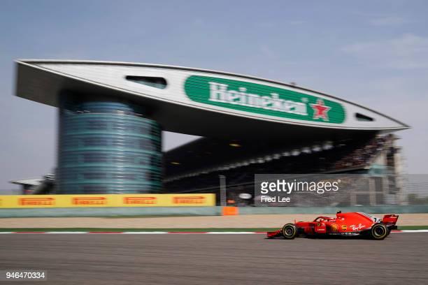 Kimi Raikkonen of Finland driving the Scuderia Ferrari SF71H on track during the Formula One Grand Prix of China at Shanghai International Circuit on...