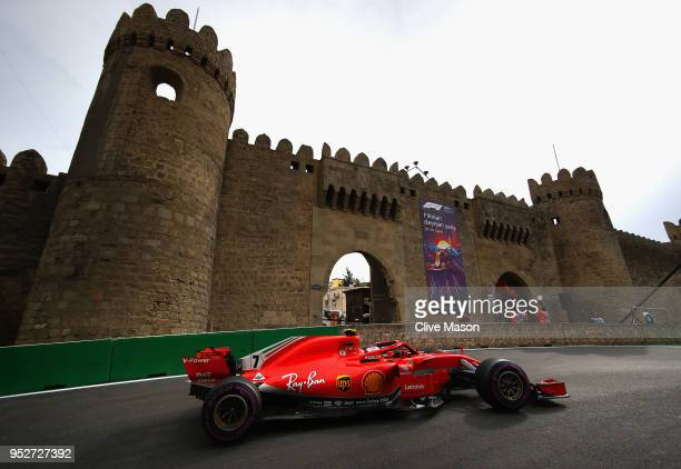 Kimi Raikkonen of Finland driving the Scuderia Ferrari SF71H on track during the Azerbaijan Formula One Grand Prix at Baku City Circuit on April 29...