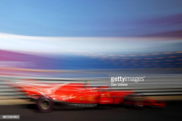 Kimi Raikkonen of Finland driving the Scuderia Ferrari SF71H on track during practice for the Monaco Formula One Grand Prix at Circuit de Monaco on...