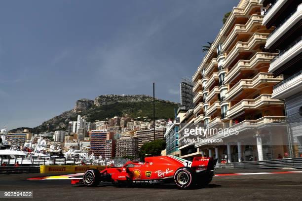 Kimi Raikkonen of Finland driving the Scuderia Ferrari SF71H on track during final practice for the Monaco Formula One Grand Prix at Circuit de...