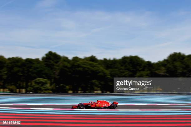 Kimi Raikkonen of Finland driving the Scuderia Ferrari SF71H on track during practice for the Formula One Grand Prix of France at Circuit Paul Ricard...