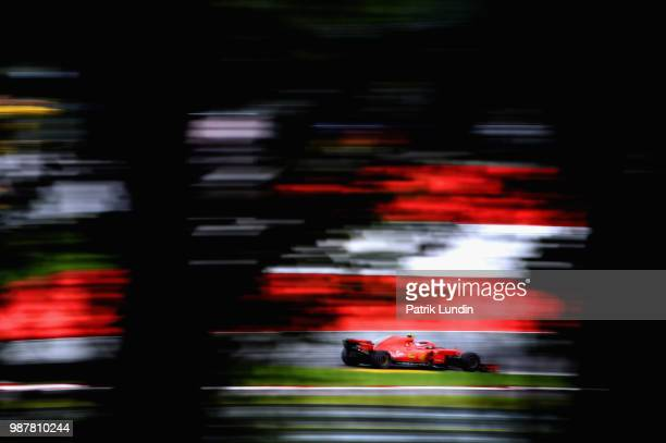 Kimi Raikkonen of Finland driving the Scuderia Ferrari SF71H on track during final practice for the Formula One Grand Prix of Austria at Red Bull...
