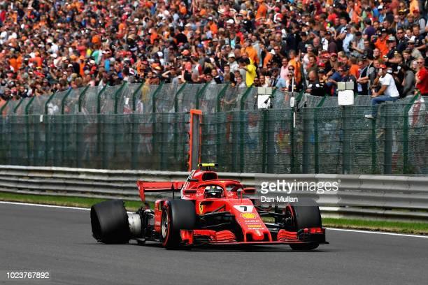 Kimi Raikkonen of Finland driving the Scuderia Ferrari SF71H with a right rear puncture during the Formula One Grand Prix of Belgium at Circuit de...