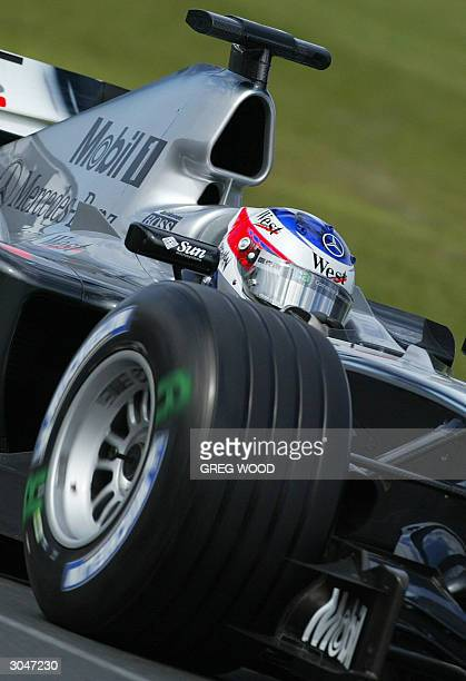 Kimi Raikkonen of Finland, powers his McLaren Mercedes through the chicane during the final practice session for the Australian Formula One Grand...