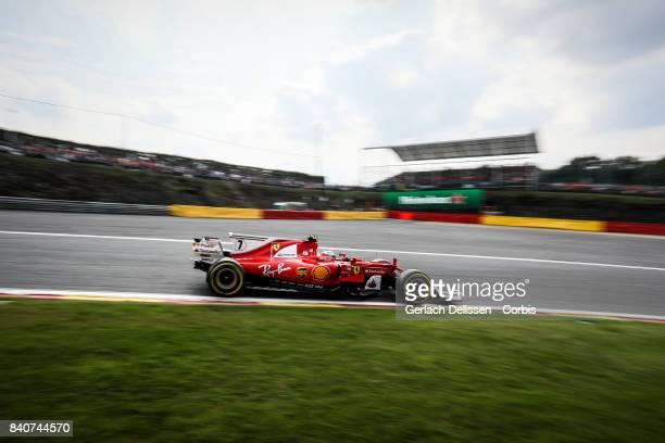 Kimi Raikkonen of the Scuderia Ferrari Team at Circuit de SpaFrancorchamps on August 27 2017 in Spa Belgium