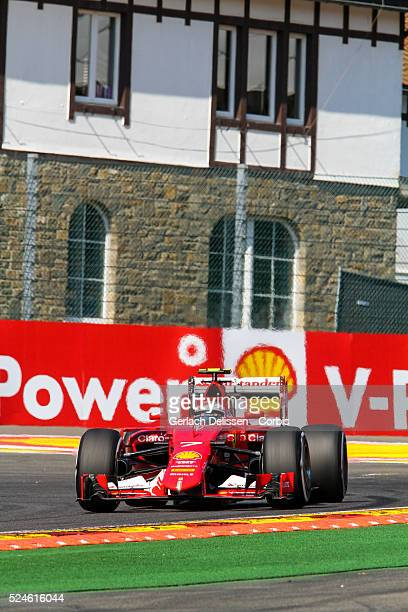 Kimi Raikkonen of the Scuderia Ferrari Team during the 2015 Formula 1 Shell Belgian Grand Prix free practise 1 at Circuit de SpaFrancorchamps in...