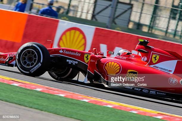 Kimi Raikkonen of the Scuderia Ferrari Team during the 2015 Formula 1 Shell Belgian Grand Prix free practise 1 at Circuit de Spa-Francorchamps in...