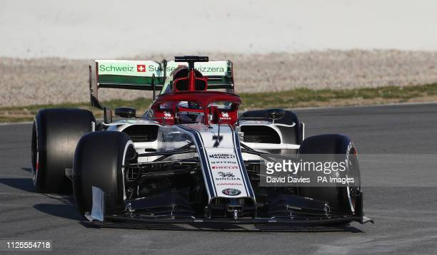 Kimi Raikkonen spins into the gravel on his opening lap in the Alfa Romeo during day one of preseason testing at the Circuit de BarcelonaCatalunya