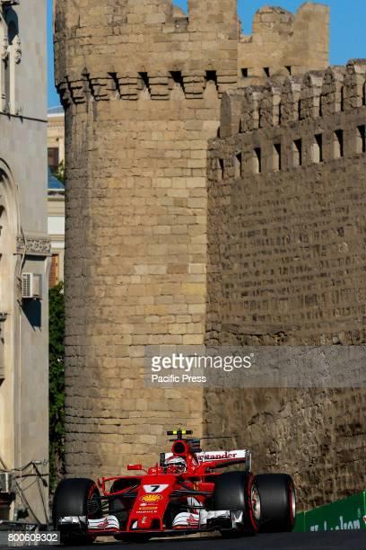 Kimi Raikonen of Filand driving the Scuderia Ferrai F1 Team on track during final practice for the Azerbaijan Formula One Grand Prix at Baku City...