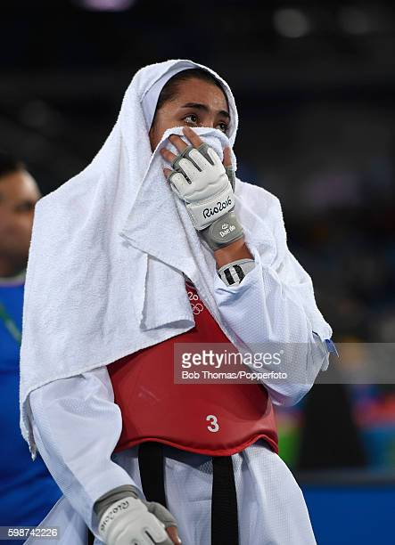 Kimia Alizadeh Zenoorin of Iran after the Women's Taekwondo 57kg quarter finals against Eva Calvo Gomez of Spain at the Carioca Arena on Day 13 of...