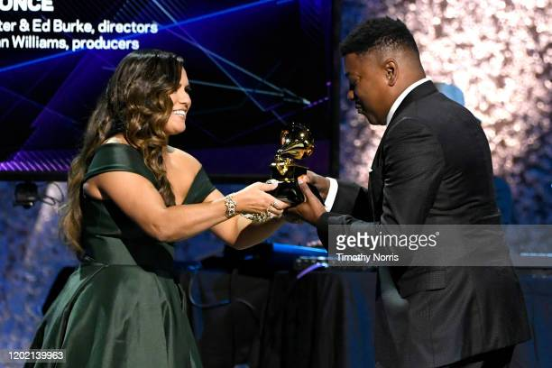 Kimie Miner presents the Best Music Film award for Homecoming to Steve Pamon onstage during the 62nd Annual GRAMMY Awards Premiere Ceremony at...
