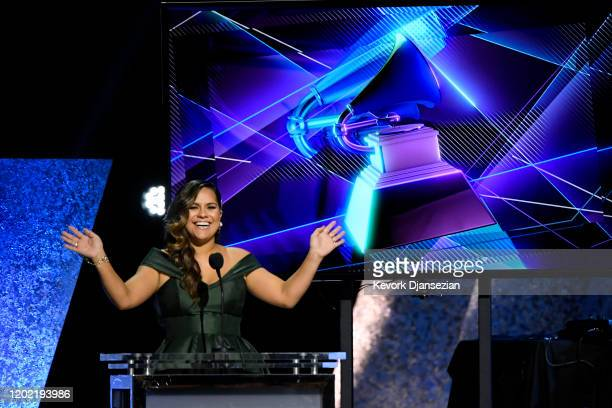 Kimie Miner speaks onstage during the 62nd Annual GRAMMY Awards Premiere Ceremony at Microsoft Theater on January 26 2020 in Los Angeles California