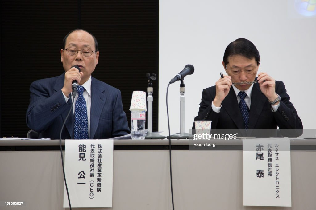 Kimikazu Noumi, president of Innovation Network Corp. of Japan, left, speaks during a news conference with Yasushi Akao, president of Renesas Electronics Corp., in Tokyo, Japan, on Monday, Dec. 10, 2012. Renesas Electronics Corp., the ailing Japanese chipmaker, will sell at least 150 billion yen ($1.8 billion) of new shares to a government-backed fund and customers such as Toyota Motor Corp. as part of a bailout plan. Photographer: Noriyuki Aida/Bloomberg via Getty Images