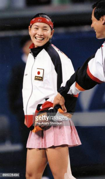 Kimiko Date of Japan celebrates her victory over Steffi Graf of Germany during day two of the FED Cup World Group Quarterfinal between Japan and...