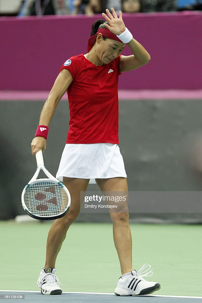 Kimiko Date-Krumm of Japan reacts during her match against Maria Kirilenko of Russia in the Federation Cup 2013 World Group Quarterfinal match between Russia and Japan at Olympic Stadium on February 09, 2013 in Moscow, Russia.