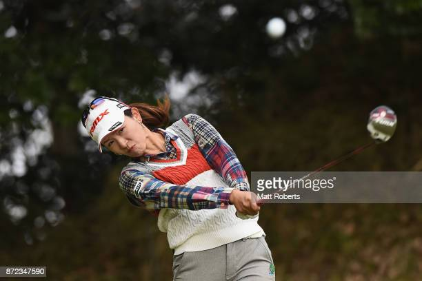 Kimiko Ueda of Japan hits her tee shot on the 4th hole during the first round of the Itoen Ladies Golf Tournament 2017 at the Great Island Club on...