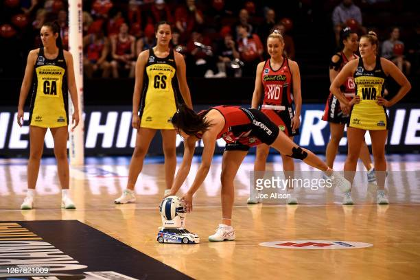 Kimiora Poi of the Tactix collects the match ball from a remote control car prior to the ANZ Premiership Final between the Pulse and the Tactix at...