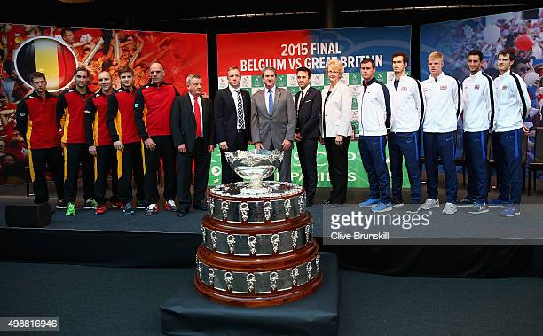 Kimmer Coppejans,Ruben Bemelmans,Steve Darcis,David Goffin and team captain Johan Van Herck of Belgium,team captain Leon Smith,Andy Murray, Kyle...