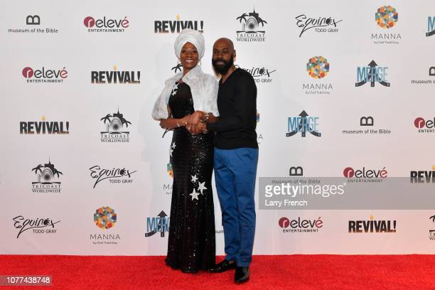 Kimmi Walker and Mali Music are seen at the premiere of Harry Lennix's Film Revival a gospel musical based on the Book of John at the Museum of The...