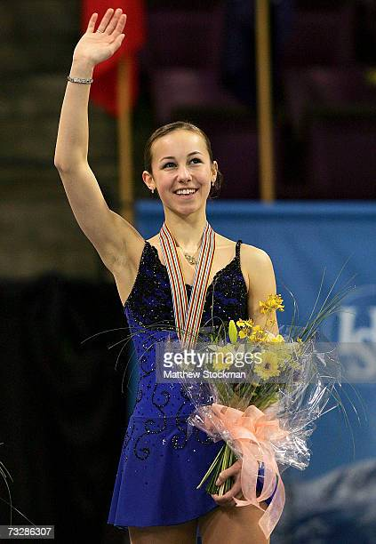 Kimmie Meissner acknowledges the crowd after the medals ceremony for the ladies event during the ISU Four Continents Figure Skating Championships...
