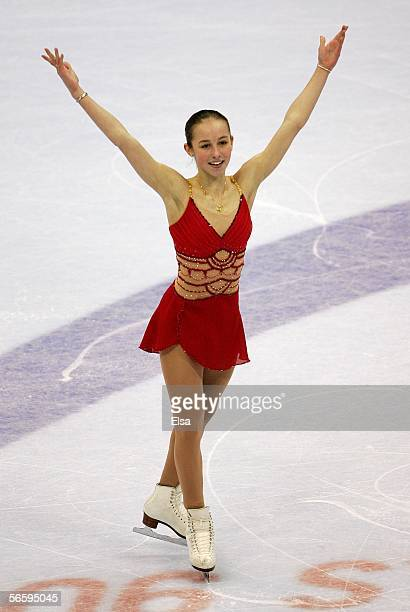 Kimmie Meissner finishes her Free program during the 2006 State Farm U.S. Figure Championships at the Savvis Center on January 14, 2006 in St. Louis,...