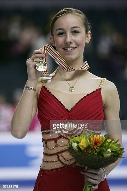 Kimmie Meissner of USA poses with her gold medal in the Ladies Free Skating during the ISU World Figure Skating Championships at the Pengrowth...