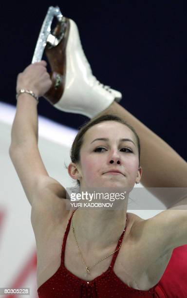 US Kimmie Meissner performs her short program at the Scandinavium arena in Gothenburg on March 19 during the World Figure Skating Championships AFP...