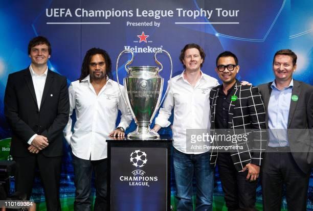 Kimmo Bellmann UEFA Communications Christian Karembeu UEFA Champions League Trophy Tour Ambassador Steve McManaman UEFA Champions League Trophy Tour...
