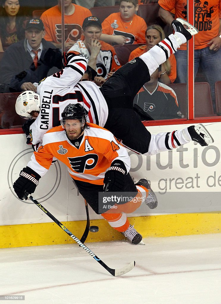 Kimmo Timonen #44 of the Philadelphia Flyers checks Brian Campbell #51 of the Chicago Blackhawks in Game Four of the 2010 NHL Stanley Cup Final at Wachovia Center on June 4, 2010 in Philadelphia, Pennsylvania.