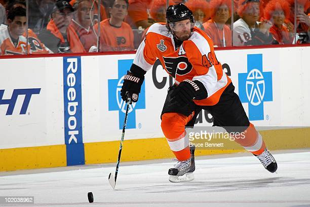 Kimmo Timonen of the Philadelphia Flyers handles the puck against the Chicago Blackhawks in Game Six of the 2010 NHL Stanley Cup Final at the...