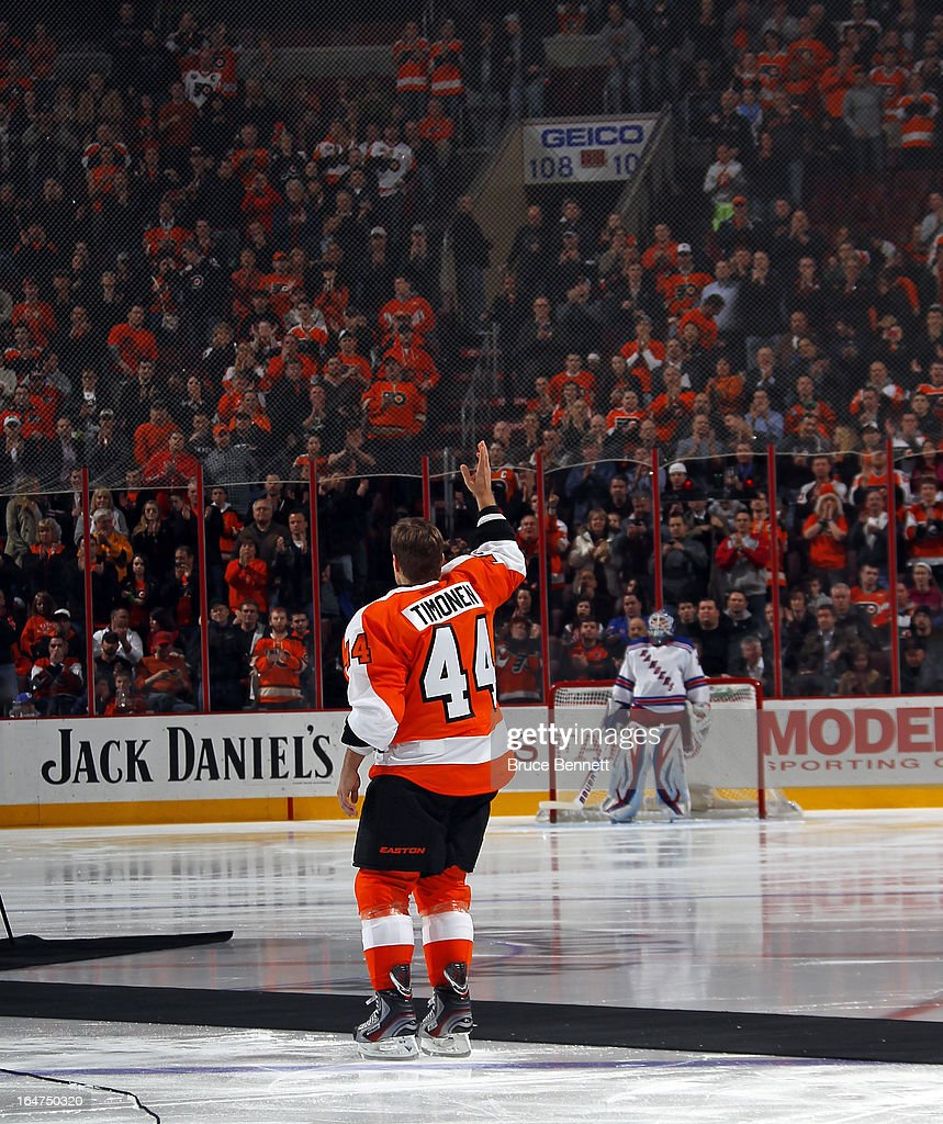 Kimmo Timonen #44 of the Philadelphia Flyers is honored prior to his game against the New York Rangers for playing in 1000 NHL games at the Wells Fargo Center on March 26, 2013 in Philadelphia, Pennsylvania.