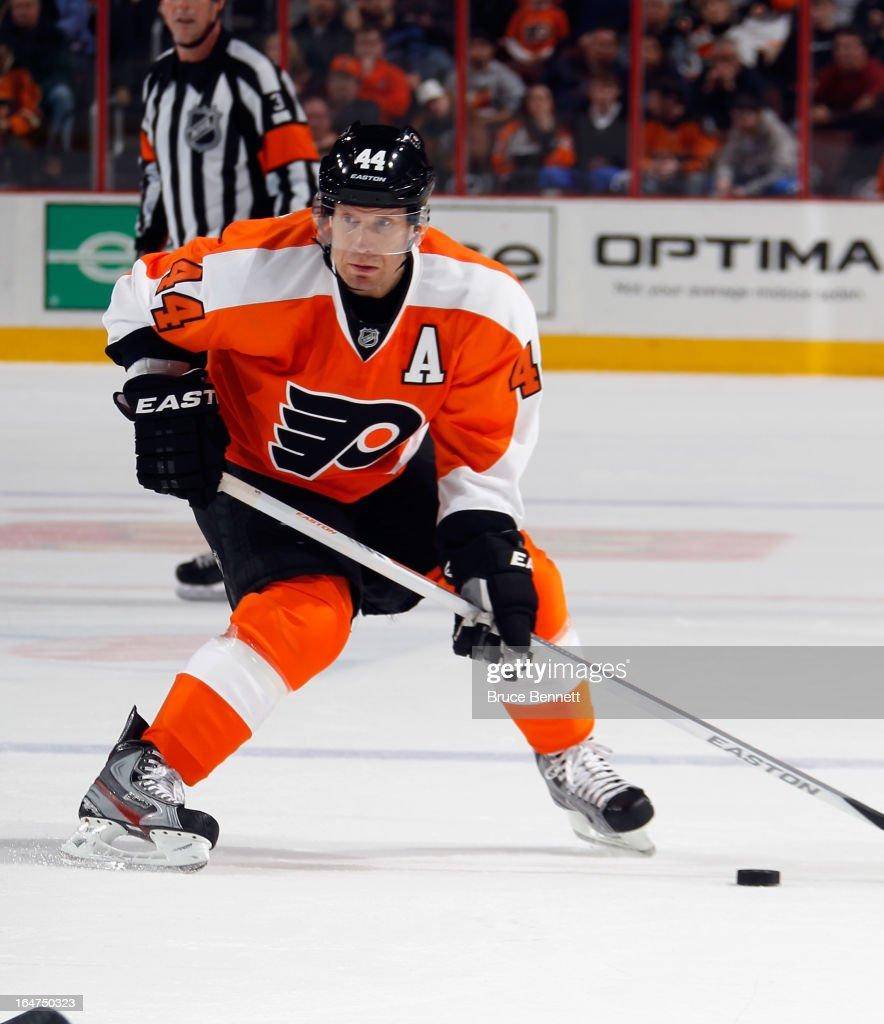 Kimmo Timonen #44 of the Philadelphia Flyers skates against the New York Rangers at the Wells Fargo Center on March 26, 2013 in Philadelphia, Pennsylvania.
