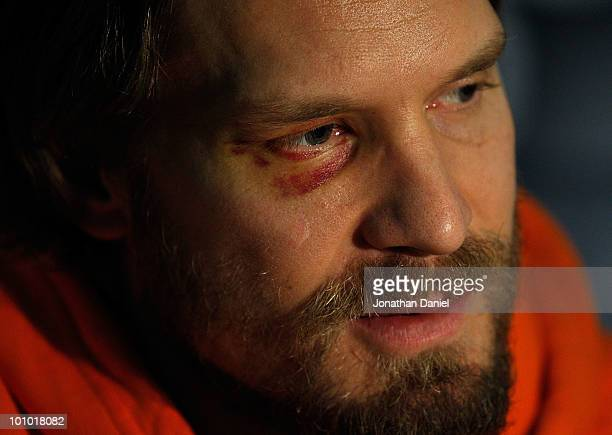 Kimmo Timonen of the Philadelphia Flyers talks with reporters during Stanley Cup media day at the United Center on May 27 2010 in Chicago Illinois