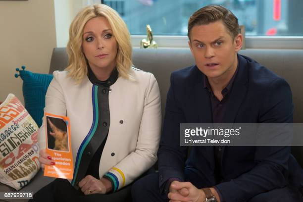 SCHMIDT Kimmy and the Trolley Problem Episode 312 Pictured Jane Krakowski as Jacqueline White Billy Magnussen as Russ Snyder
