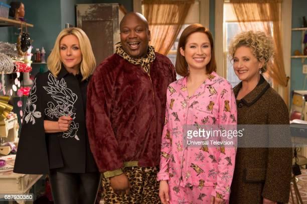 SCHMIDT Kimmy Bites an Onion Episode 313 Pictured Jane Krakowski as Jacqueline White Tituss Burgess as Titus Andromedon Ellie Kemper as Kimmy Schmidt...