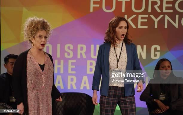SCHMIDT 'Kimmy Disrupts the Paradigm' Episode 404 Pictured Carol Kane as Lillian Kaushtupper Ellie Kemper as Kimmy Schmidt